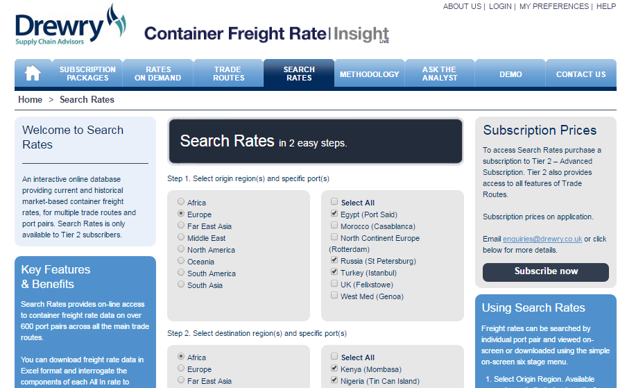 View a demonstration of Drewry's CFRI service