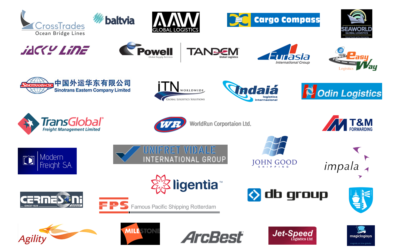 Some of the forwarders we are currently working with: June 2019