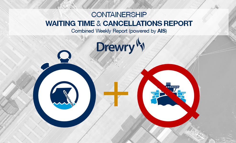 Drewry begins tracking weekly containership cancelled sailings and waiting times